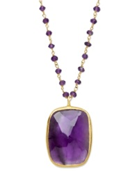 Macy's 18K Gold Over Sterling Silver Necklace Amethyst Rectangle Pendant 17 1 10 Ct.T.W.