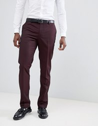 Mango Man Suit Trousers In Burgundy Red
