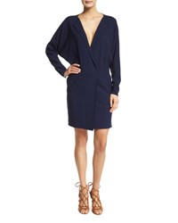 Ralph Lauren Long Sleeve V Neck Dress Dark Navy