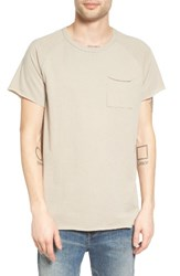 The Rail Men's Elongated Scoop Neck Pocket T Shirt Tan Aluminum