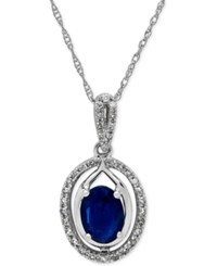 Macy's Sapphire 1 Ct. T.W. And Diamond 1 10 Ct. T.W. Oval Pendant Necklace In 10K White Gold