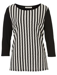 Betty Barclay Waffle Striped Top Black White