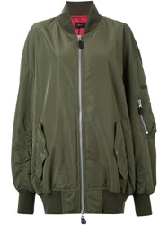 G.V.G.V. Oversized 'Hammer And Sickle' Bomber Jacket Green