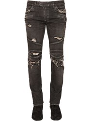 Balmain 17Cm 551 Biker Cotton Denim Jeans