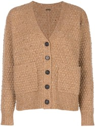 Adam By Adam Lippes Texture Knit Cardigan Brown