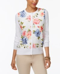 Charter Club Floral Print Lace Cardigan Only At Macy's Bright White Combo