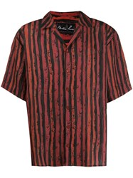 Martine Rose Striped Button Up Shirt Red