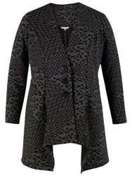 Chesca Diamond Jacquard Jersey Jacket Charcoal