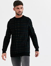 New Look Neon Pattern Crew Neck Jumper In Black