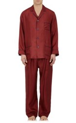 Barneys New York Men's Silk Pajama Set Red