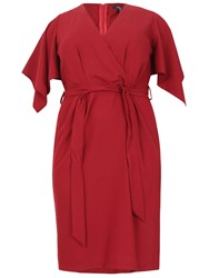 Samya Plus Size Kimono Wrap Dress Burgundy