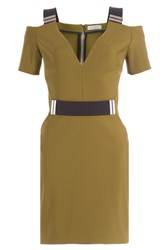Thierry Mugler Mugler Dress With Cut Out Shoulders Green