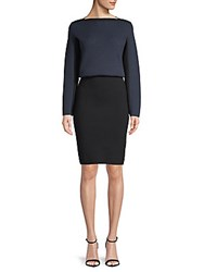 Azzedine Alaia Colorblocked Wool Blouson Dress Black Navy