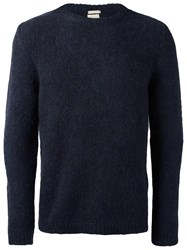 Massimo Alba Ribbed Round Neck Jumper Blue