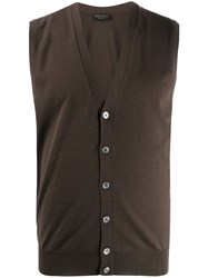 Dell'oglio Knitted Button Down Waistcoat Brown