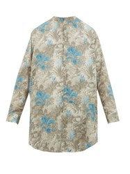 By Walid Lollo Foliage Print Cotton Shirt Light Blue
