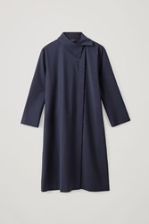 Cos Wool Mix Dress With Off Center Collar Blue