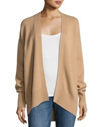 Theory Oversized Open Front Cashmere Cardigan Camel