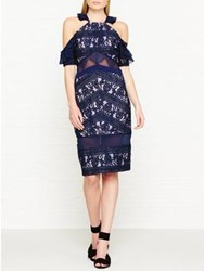 Three Floor Inky Floral Embroidered Lace Drop Shoulder Dress Navy
