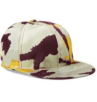 Valentino Camouflage Print Shell And Leather Baseball Cap Multi