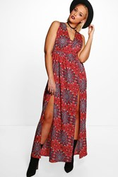 Boohoo Plus Emily Western Paisley Printed Maxi Dress Red
