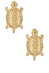 Anna Beck 18K Gold Plated Sterling Silver Turtle Stud Earrings Metallic