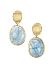 Marco Bicego Lunaria Aquamarine And 18K Yellow Gold Small Drop Earrings