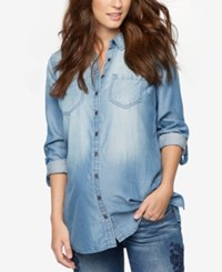 A Pea In The Pod Maternity Chambray Shirt Blue