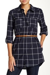 Blvd Spread Collar Belted Tunic Blue