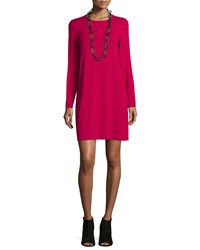 Eileen Fisher Long Sleeve Button Back Jersey Mini Dress Petite Women's Red Rose