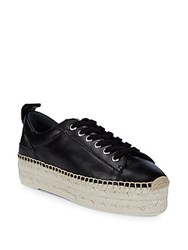 Mcq By Alexander Mcqueen Lace Up Leather Platform Espadrilles Black
