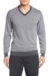 Bobby Jones Men's Herringbone Merino Wool V Neck Sweater