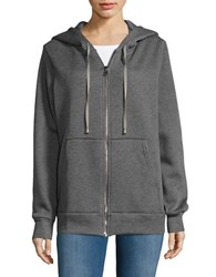 Necessary Objects Zip Up Cotton Blend Hoodie Medium Grey
