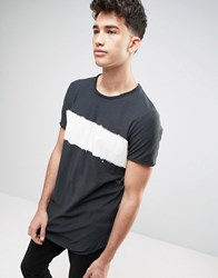 Pull And Bear Longline T Shirt With Tie Dye Stripe In Black Black