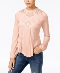 American Rag Lace Inset High Low Peasant Top Only At Macy's Peach Whip
