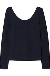Temperley London Marquis Pointelle Knit Sweater Blue