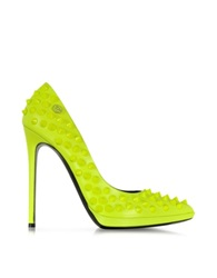 Philipp Plein Neon Yellow High Heels Pop Studded Pump