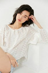 Urban Outfitters Uo Pippa Button Down Eyelet Tunic Top Ivory