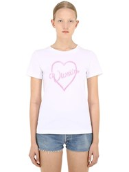 Vivetta Logo Heart Print Cotton T Shirt White