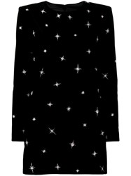 Saint Laurent Sequin Embroidered Star Dress Black