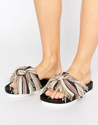 Sixty Seven Sixtyseven Taupe Multi Bow Slide Flat Sandals Taupe Multi Beige
