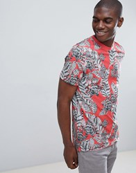 Ted Baker Crew Neck T Shirt In Lima Print Pink