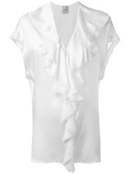 Nude Ruffled V Neck Blouse Women Silk 40 White