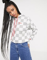 Dickies Girl Cropped Hoodie With All Over Print Gray