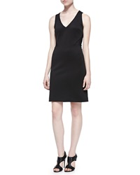 Nicole Miller Sleeveless Scuba Dress W Mesh Back