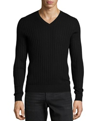 Neiman Marcus Superfine Cashmere Ribbed V Neck Sweater Black