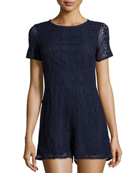 Neiman Marcus Lace Short Sleeve Short Jumpsuit Navy