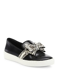 Michael Kors Val Leather And Snakeskin Skate Sneakers Black