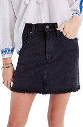 Madewell Women's Raw Hem Denim Skirt Washed Black