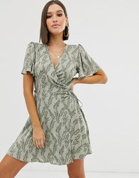 Na Kd Floral Print Mini Wrap Dress In Green